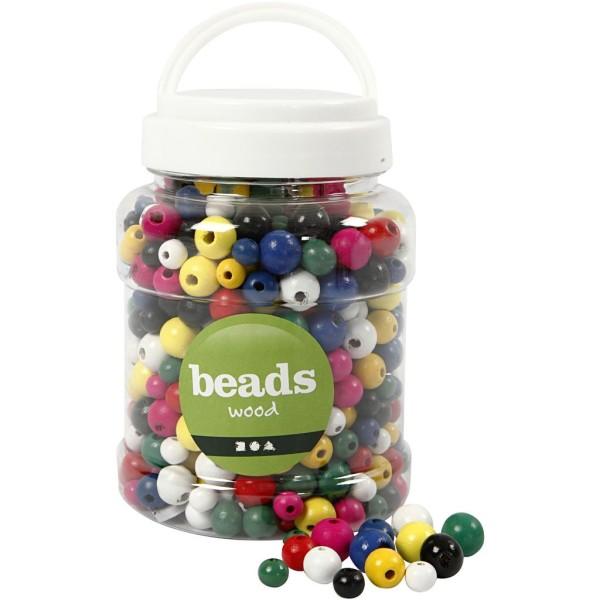 Assortiment de perles en bois multicolores - 8 à 12 mm - Environ 540 pcs - Photo n°1