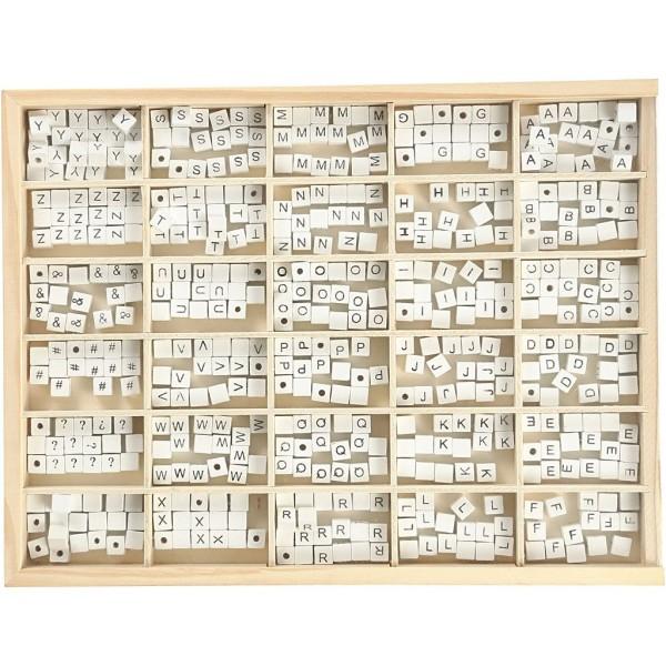 Perles en bois alphabet 8 mm - Perles blanches avec écriture noire - 750 pcs - Photo n°2