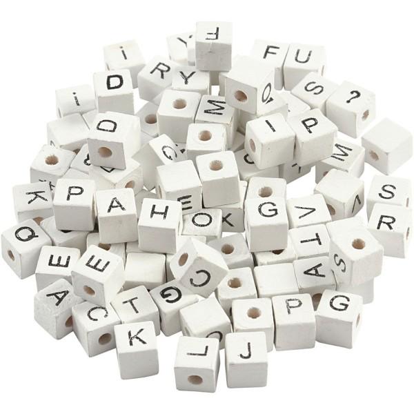 Perles en bois alphabet 8 mm - Perles blanches avec écriture noire - 750 pcs - Photo n°3