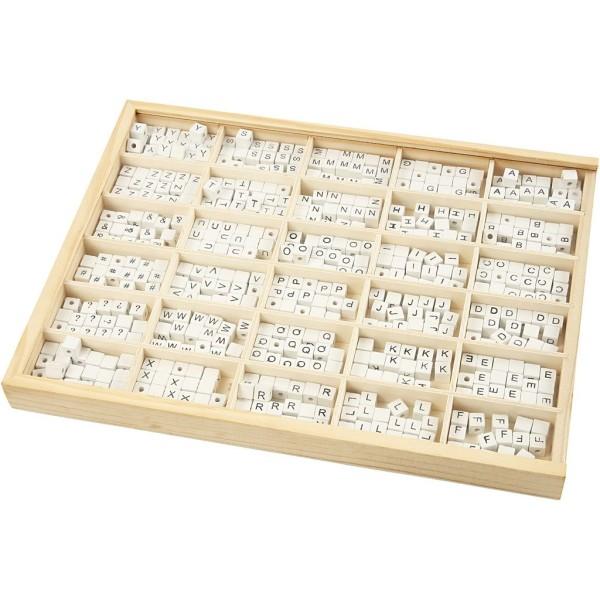 Perles en bois alphabet 8 mm - Perles blanches avec écriture noire - 750 pcs - Photo n°1