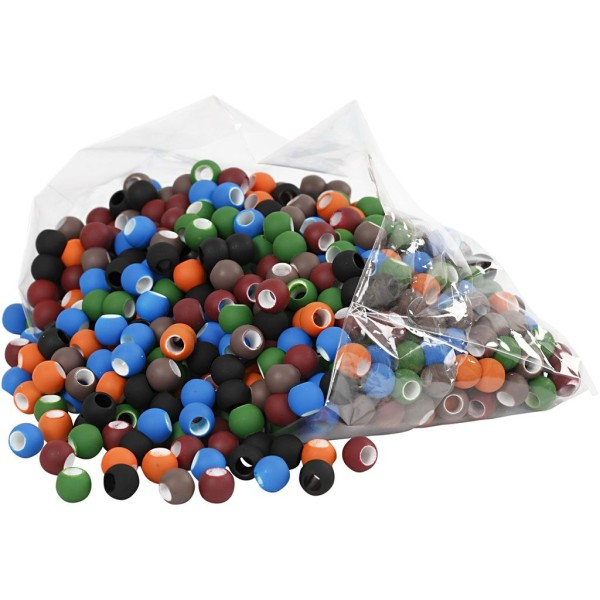 Perles - Assortiment, Dim. 8X10 Mm, Diamètre Intérieur 5 Mm, Couleurs Assorties, 300Gr, Env. 750 Piè - Photo n°1