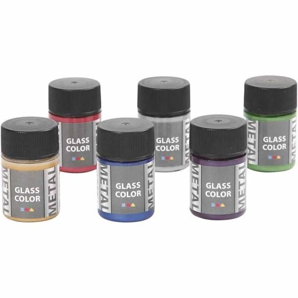 Lot de peinture pour verre et porcelaine Glass Color - Effet métallisé - 6 x 35 ml - Photo n°2