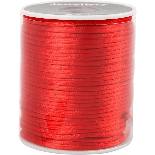 Cordon satin 2 mm - Rouge  - Rouleau de 50 m - Photo n°2