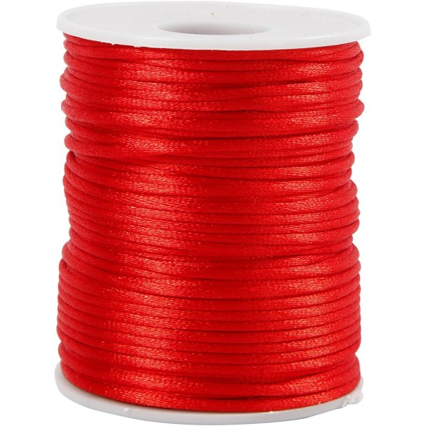 Cordon satin 2 mm - Rouge  - Rouleau de 50 m - Photo n°1