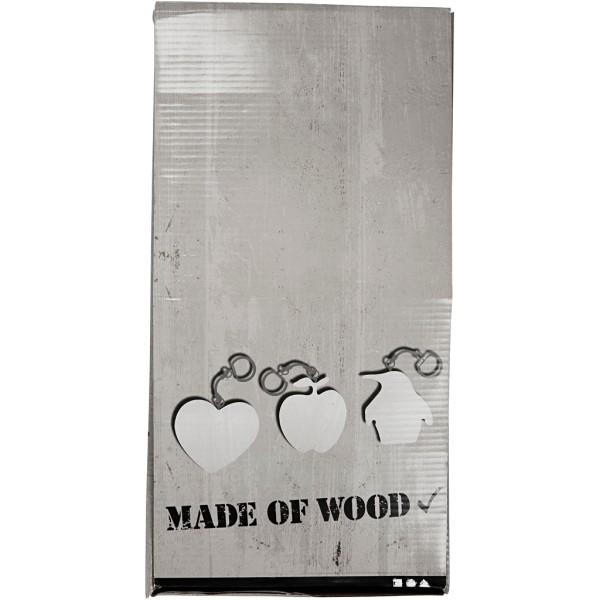 Porte-clés en bois - 16 designs - 7 cm - 128 pcs - Photo n°4