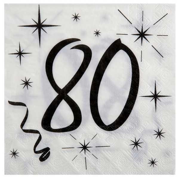 20 Serviettes anniversaire 80 ans - Photo n°1