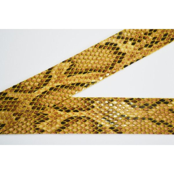 Biais à plat simili cuir imitation python camel 30mm - Photo n°1