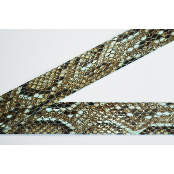 Biais à plat simili cuir imitation python bleu 30mm - Photo n°1