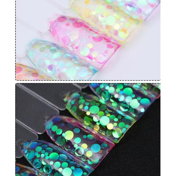 12 Couleurs Aurora Mélange des Cercles, des Nail Art Paillettes Holographiques Chunky Kit de Cheveux - Photo n°2
