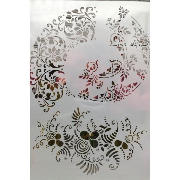 POCHOIR PLASTIQUE 30*21cm : volupte de fleurs - Photo n°1