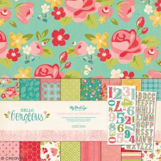 Papiers Scrapbooking Gorgeous 30,5 x 30,5 cm et stickers