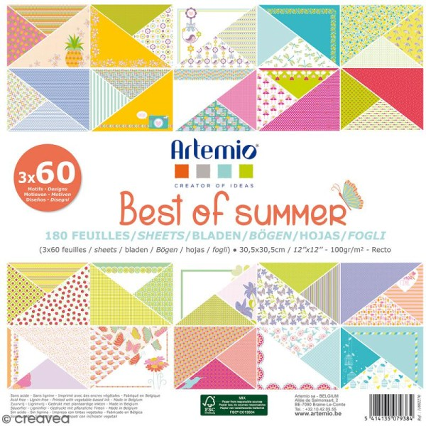Papier Scrapbooking Artemio - Best of Summer - 30,5 x 30,5 cm - 180 feuilles - Photo n°1