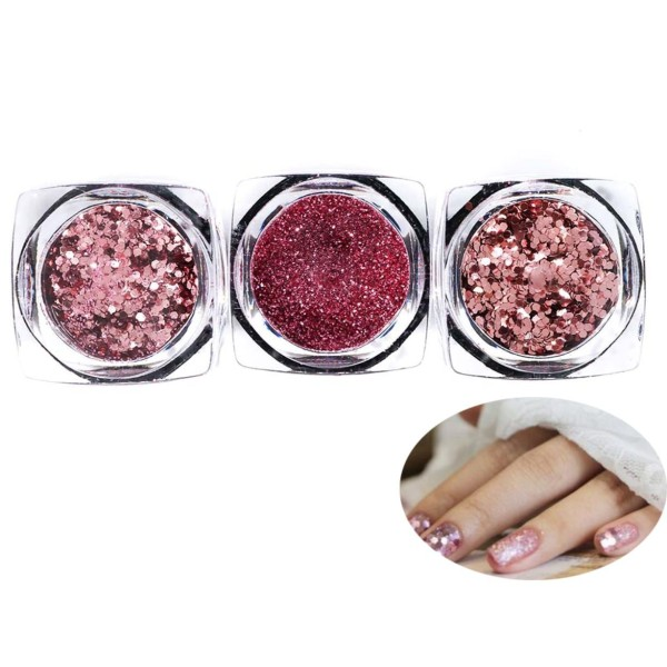 3 Couleurs Rose Gold Mix Ronde, Rose Nail Art Glitter Powder Chunky Kit de Cheveux, Manucure Maquill - Photo n°1
