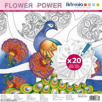 Cahier de coloriage - Flower Power - 30,5 x 30,5 cm - 20 feuilles
