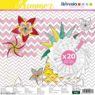 Cahier de coloriage - Summer - 30,5 x 30,5 cm - 20 feuilles