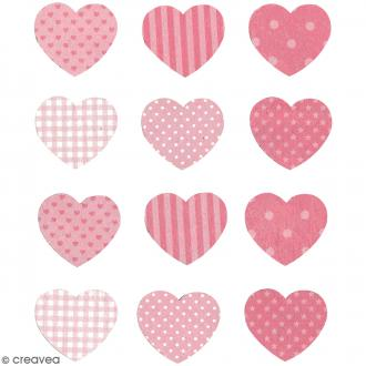 Stickers en bois - Coeur Rose - 12 pcs
