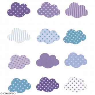 Stickers en bois - Nuage Bleu - 12 pcs