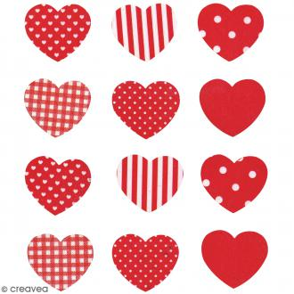 Stickers en bois - Coeur Rouge - 12 pcs