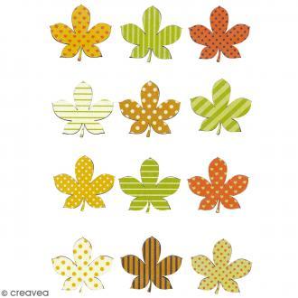 Stickers en bois - Feuilles d'automne - 12 pcs