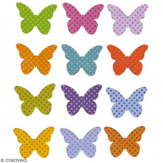 Stickers en bois - Papillons multicolores - 12 pcs