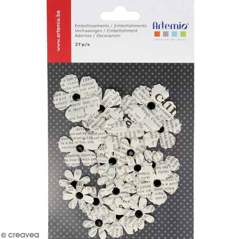 Fleurs en papier journal - 27 pcs - Photo n°1