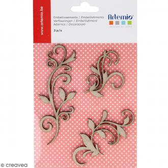 Stickers Ornements en carton miniatures - 3 pcs