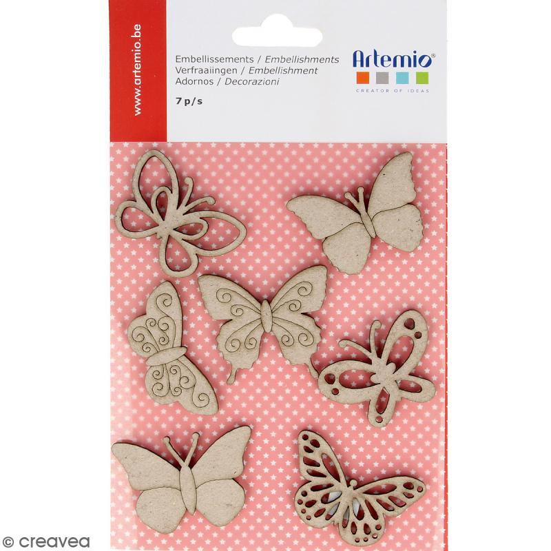 Stickers Papillons en carton miniatures - 7 pcs - Photo n°1