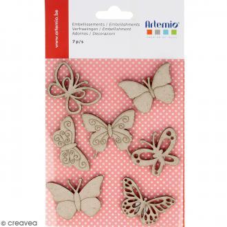 Stickers Papillons en carton miniatures - 7 pcs