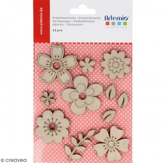 Stickers Fleurs en carton miniatures - 11 pcs