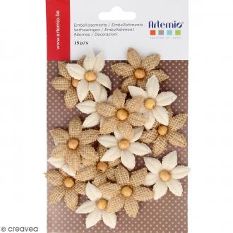 Fleurs Lys en toile avec perle - 15 pcs