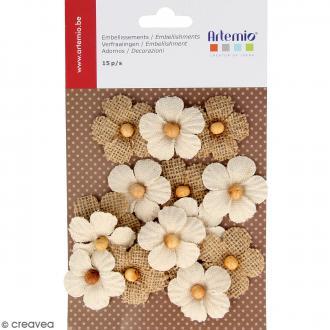 Fleurs en toile avec perle - 15 pcs
