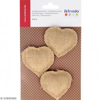 Coeurs marron rembourrés en toile - 3 pcs