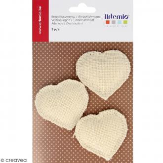 Coeurs blancs rembourrés en toile - 3 pcs