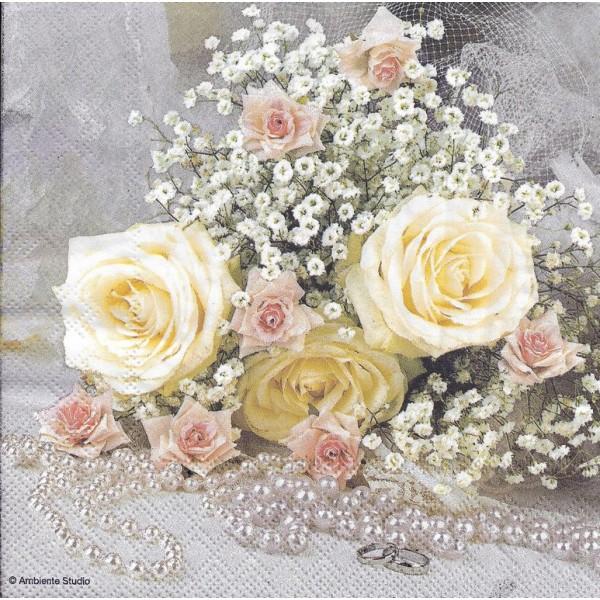 4 Serviettes en papier Fleurs Roses et Perles Format Lunch Decoupage Decopatch 13312995 Ambiente - Photo n°2