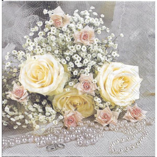 4 Serviettes en papier Fleurs Roses et Perles Format Lunch Decoupage Decopatch 13312995 Ambiente - Photo n°1
