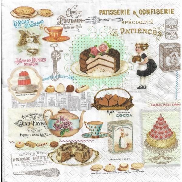 4 Déjeuner serviettes en papier pour découpage Table De Fête Vintage Rose Pâques Lapin