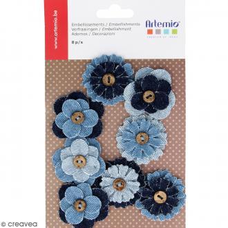 Fleurs boutons en tissu jean - 8 pcs