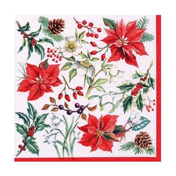 Image Fleur Noel.4 Serviettes En Papier Decoupage Collage 33 Cm Fleur De Noel No 408