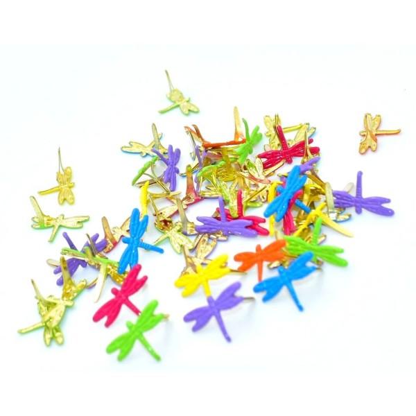 Pack de 50 attaches parisiennes libellules, brads scrapbooking, 20 mm - Photo n°2