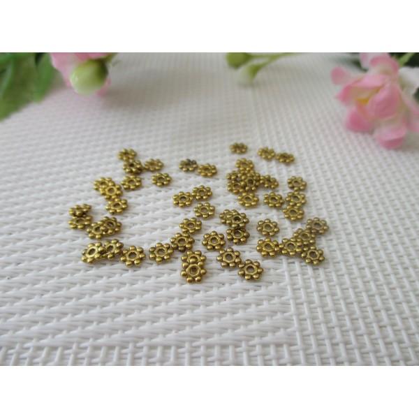 Perles métal intercalaire 4 mm fleur dorée x 40 - Photo n°1