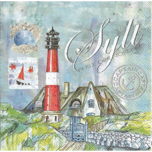 4 Serviettes en papier Sylt Mer du Nord Phare Format Lunch Decoupage Decopatch 13313075 Ambiente - Photo n°1