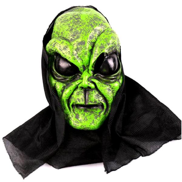 Masque alien latex vert avec cagoule + 8 ans - Photo n°1