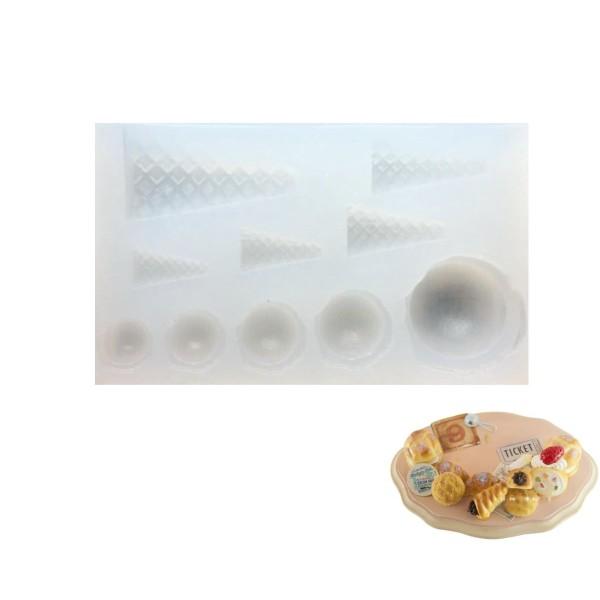 10 Cône de Crème Glacée Maison de Poupée Fée de Jardin Miniature d'Aliments Sucrés, 3D Silicone Argi - Photo n°1