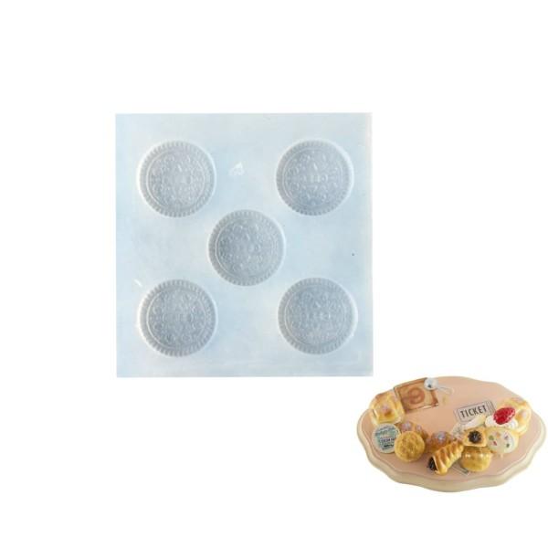 5 Oreo Cookie Biscuit, Maison de Poupée Fée de Jardin Miniature d'Aliments Sucrés, 3D Silicone Argil - Photo n°1