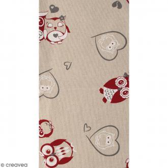 Coupon de tissu en coton - Chouette - Rouge - 30 x 90 cm