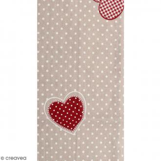 Coupon de tissu en coton - Pois et coeur - Rouge - 30 x 90 cm