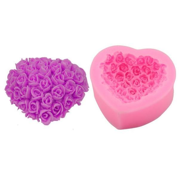 En Forme de coeur Rose Bouquet de Fleurs de la saint Valentin, la 3D en Silicone de Chocolat Savon G - Photo n°3