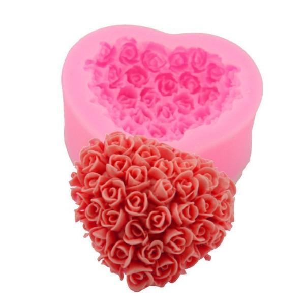 En Forme de coeur Rose Bouquet de Fleurs de la saint Valentin, la 3D en Silicone de Chocolat Savon G - Photo n°5