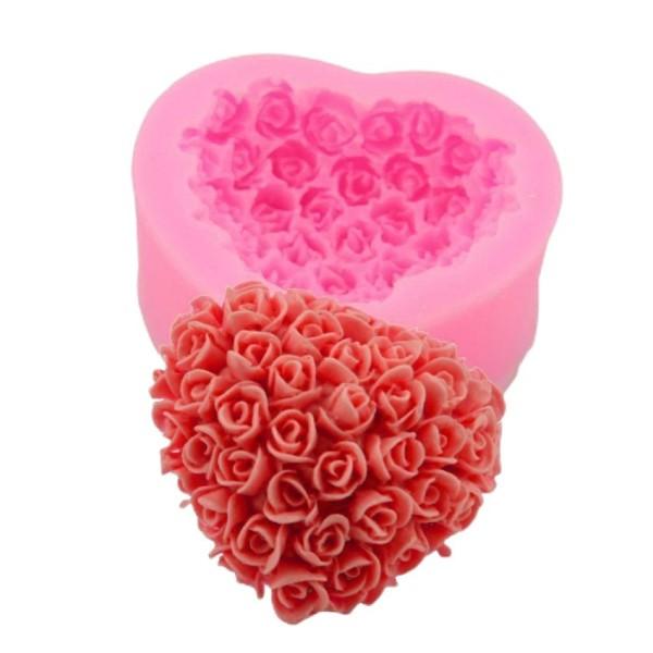 En Forme de coeur Rose Bouquet de Fleurs de la saint Valentin, la 3D en Silicone de Chocolat Savon G - Photo n°1