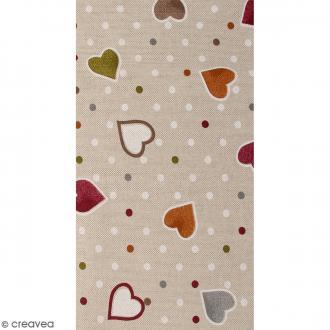 Coupon de tissu en coton - Coeur - Multicolore - 30 x 90 cm